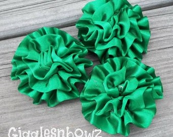 Set of 3 Beautiful EMERALD GReEN Satin Rosettes Puff Flowers