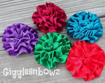 Set of 5 Beautiful JEWELTONE Satin Rosettes Puff Flowers