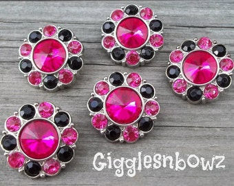 NEW Set of Five LIMITED EDITION Shocking Pink and Black Rhinestone Buttons 25mm