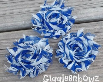 3 Chiffon Flowers- 4th of July Shabby Frayed Vintage look Chiffon Rosette Flowers- Royal Blue Stripes