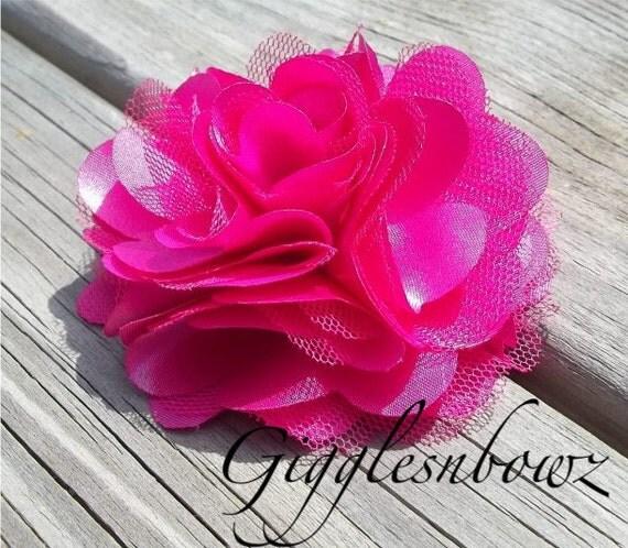 Satin Tulle Puff Flower Shocking Pink Headband Flower
