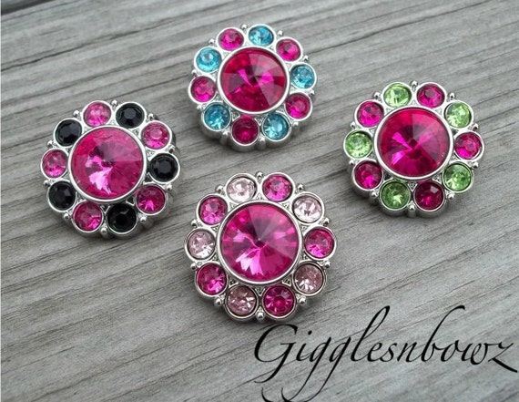 NEW Set of Four LIMITED EDITION Two-Tone Acrylic Rhinestone Buttons 25mm
