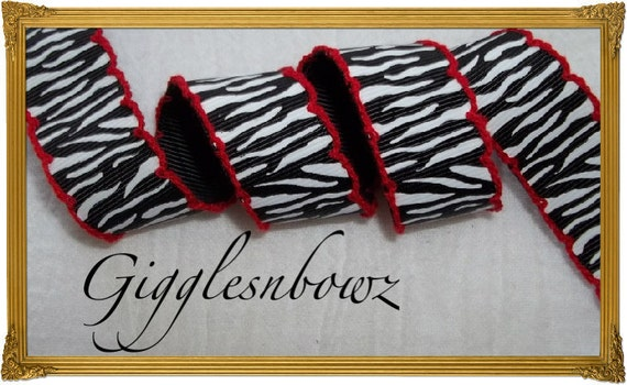 7/8 inch ZEBRA Print with Red Moonstitch Grosgrain Ribbon 5 yards