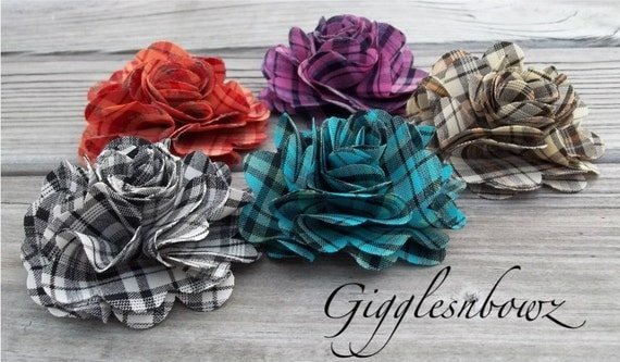 New to Shop Set of FIVE Colorful PLAID Puff Flowers
