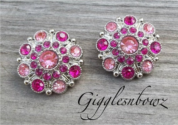 NEW Set of Two LIMITED EDITION Two-Tone Shocking Pink and Light Pink Acrylic Rhinestone Buttons 27mm