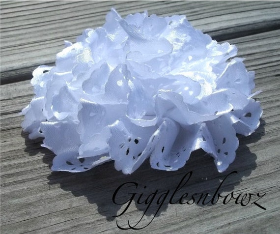 BRAND NEW Satin Eyelet Fabric Rosette Puff Flower 4 inch- WHITE