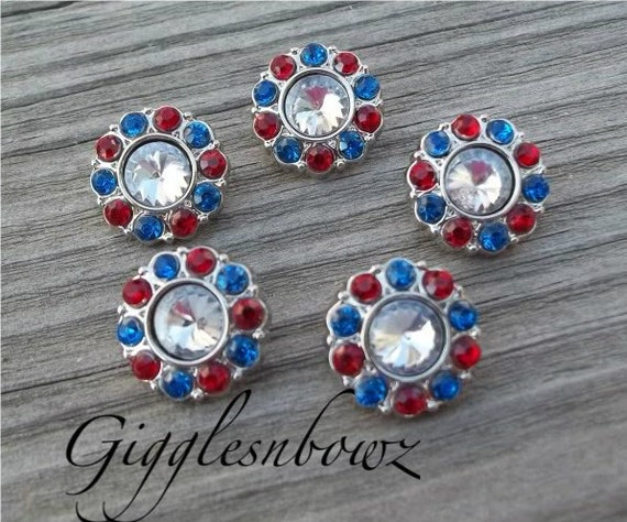 RHINESTONE BUTTONS Patriotic Iridescent with Red and Royal Blue- Set of FIVE Petite Size 15mm