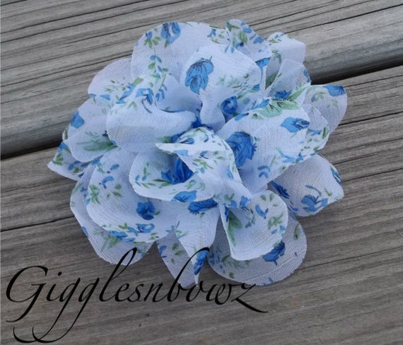 New to Shop- Blue Country Floral Print Chiffon Puff Flower 4 inch