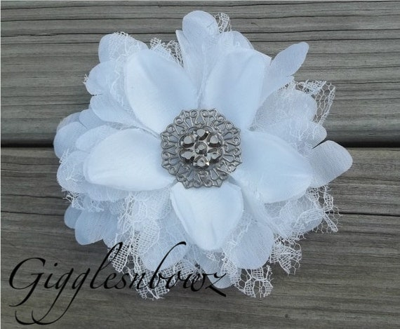 NEW to Shop Shabby Chic Vintage look Silk and Lace Flower- WHITE