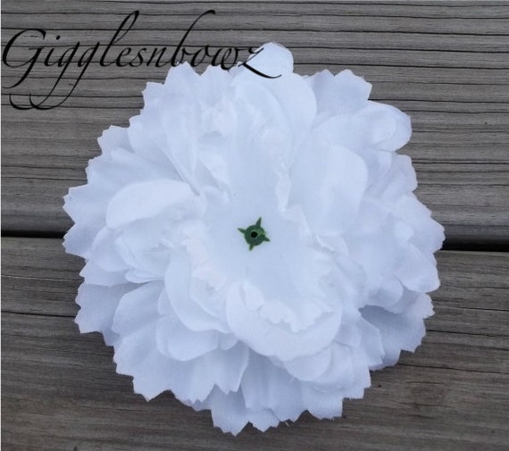 Single Soft Petal Silk Peony Flower-Gorgeous WHITE 5 inch blossom