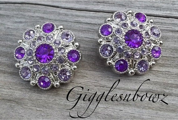 NEW Set of Two LIMITED EDITION Two-Tone Lavender and Purple Acrylic Rhinestone Buttons 27mm