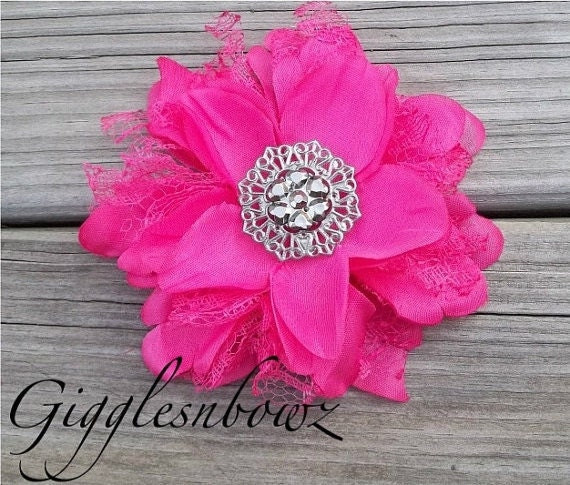 NEW to Shop Shabby Chic Vintage look Silk and Lace Flower- SHOCKING PINK