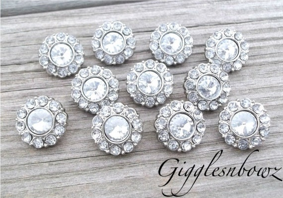 Brand New Set of TEN Tiny Acrylic Rhinestone Buttons PETITE Size-Clear 13mm