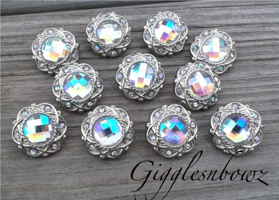 Sale!! Rhinestone Buttons- 10 Pc Vintage Style AB Iridescent 21mm- Flower Centers, Diy Hair Bow Supplies, Headband Supplies, Rhinestone Diy