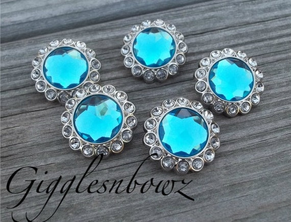 New Set of Five LIMITED EDITION Turquoise and Clear Rhinestone Buttons 23mm