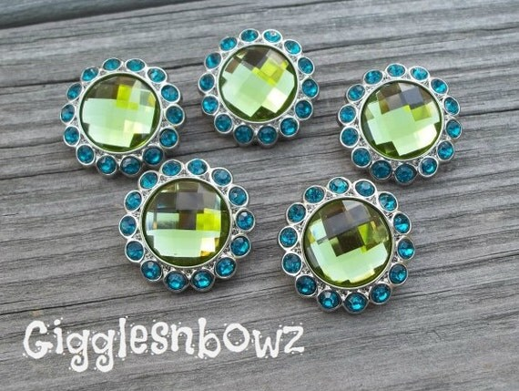 New Set of Five LIMITED EDITION Lime Green and Teal Rhinestone Buttons 23mm