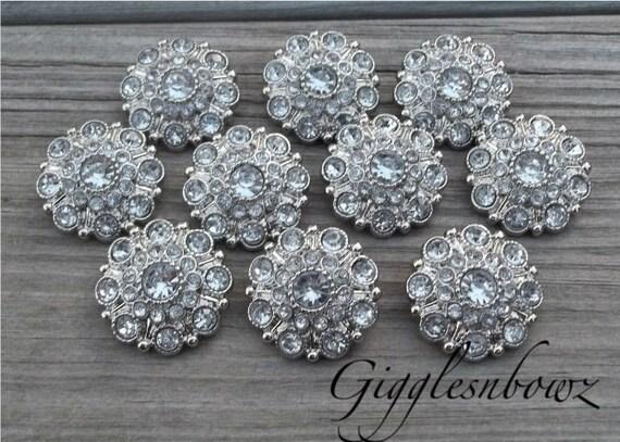 Clear Rhinestone Buttons- 28mm Rhinestone Buttons-  You Choose Quantity- Headband Supplies- Diy Wedding- Brooch Bouquet- Sewing Button