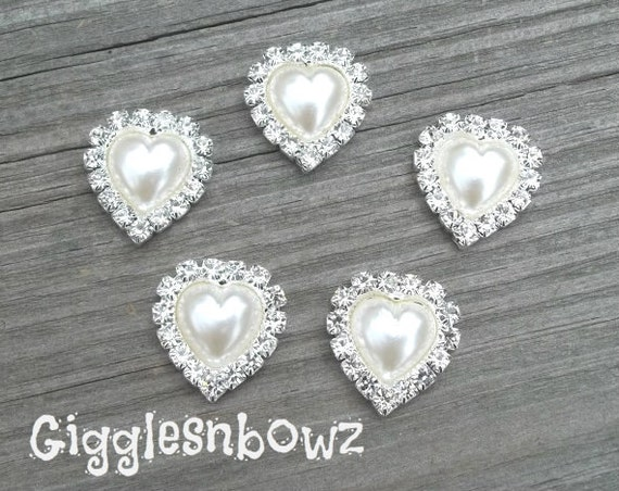 Rhinestone Buttons- 5pc Heart shape PeARL and CLEaR Rhinestone Buttons 20mm- Metal Base