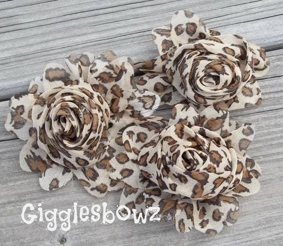 New to Shop- 2.5 Inch Chiffon Rolled Rose with Ruffles- Leopard Print, Set of Three