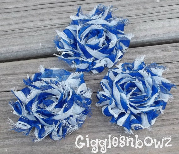 3 Chiffon Flowers- 4th of July Shabby Frayed Vintage look Chiffon Rosette Flowers- Royal Blue Stripes