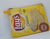 potato chip bag purse - Lays classic - recycled wrapper - zippered pouch