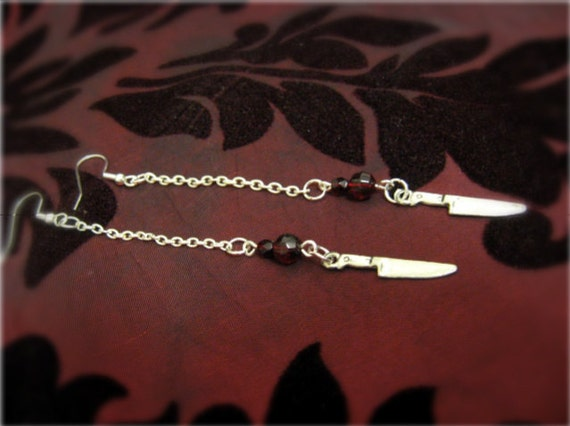 Dagger and blood drop earrings