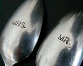 Mr. and  Mrs. Custom Wedding Gift Spoon Set of 2