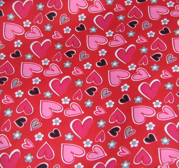 Hearts PUL Fabric 1 Yard - Valentine PUL - Valentine Fabric - Red PUL with Pink Hearts, Grey Hearts, Black Hearts