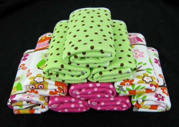 10  Cloth Wipes -  Cotton and Bamboo Velour in Owls and Coordinating Dots