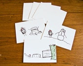 Comedy Holiday Cards - Set of 3 screenprinted cards