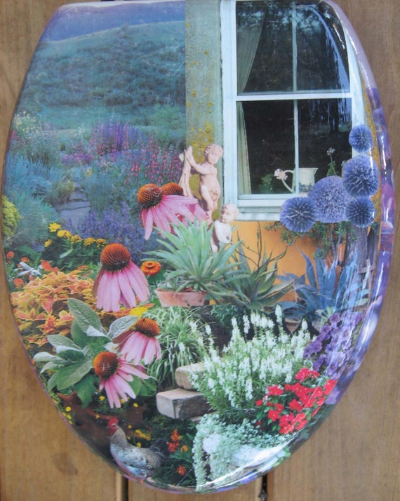 Custom Made Toilet Seat-- Paper Collage and Acrylic Glaze