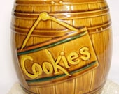 Vintage McCoy Cookie Jar Barrel style 50s 60s Baking Kitchen Collectible