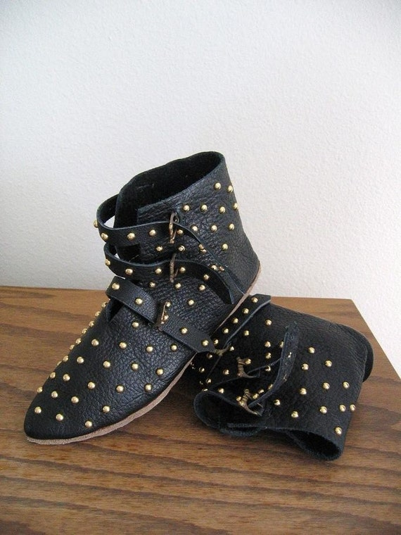 LIMITED STOCK WoodPunk - Avant Garde Handmade Gold Studded All Over 3 Buckle Leather Ankle Boots in Black