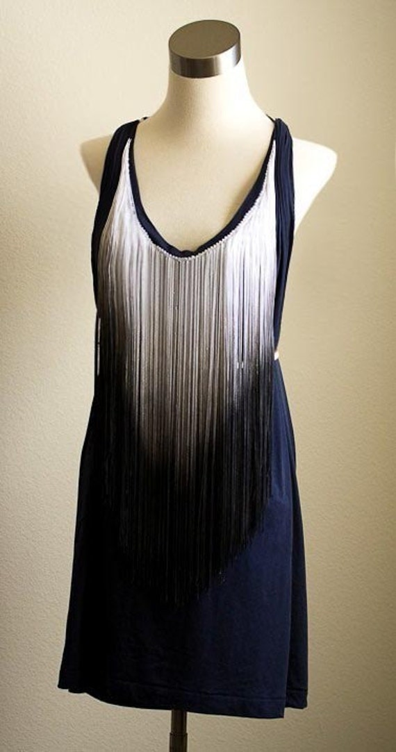 Dip Dye Fringe Bib Scoop Neck Gathered Racer Back Spring Jersey Pocket Mini Tunic Tank in Navy Black and White