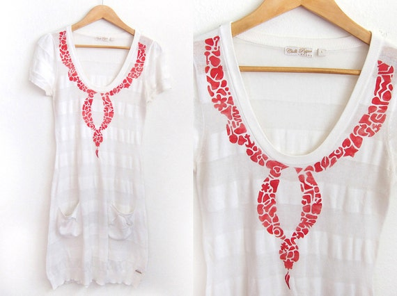 SALE Upcycled Eclectic Collage HAND STENCILED Necklace Scoop Neck Dress in Cherry Red and White