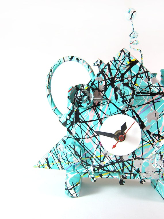 Vintage 1990 Eclectic Pyramid Fantasy Clock by R. Birkett in Mint Green Splatter Paint - Collectible Listed Artist