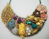 Belle-Etoile, Vintage Button, Brooches, Earrings, Rhinestones, and Crystals Necklace