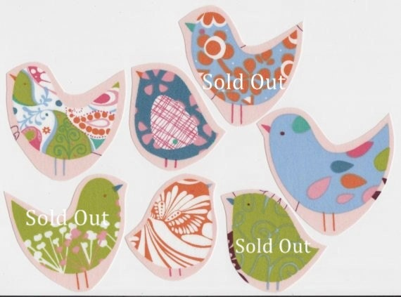 3 Different Retro Style Chubby Chickadee Fabric Iron On Appliques