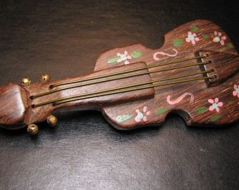 Vintage Wood Pin Cello Musical Instrument Pin