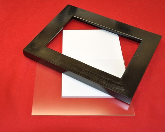 8x10 Picture Frame Black with Glass Backing and Mounting Hardware