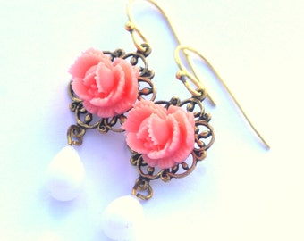 Tea Rose Dainty Sweet Romantic Earrings