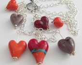 Assorted Lampwork Hearts Necklace