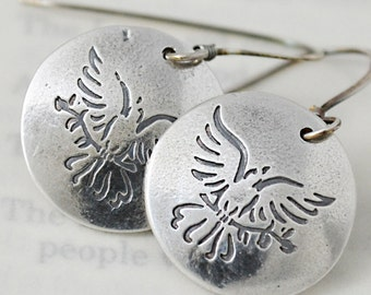 Dove Earrings in Fine Silver and Sterling Silver