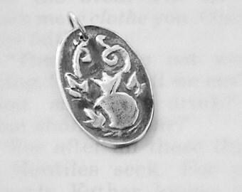 God Provides Pomegranate Charm in Fine Silver