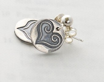 Purity of Heart Earrings in Fine Silver and Sterling Silver