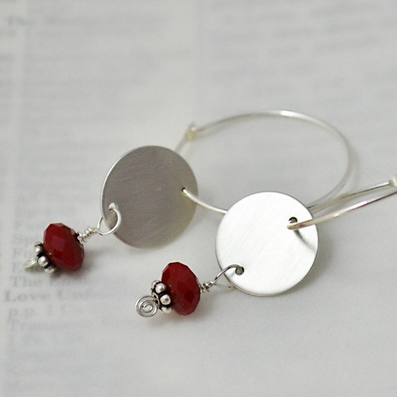 Mirror Hoop Earrings in Sterling Silver, Red Quartz