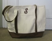 Extra Large Tote Bag, Chocolate/Natural. Personalized Free, Great for the Beach or Diaper Bag