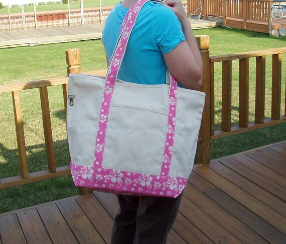 Extra Large Flamingo Pink Tote Bag...Personalized Free...Great For The Beach..