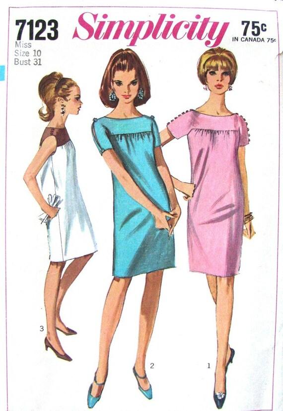 60s Vintage Shift Dress Pattern Simplicity 7123 Sleeve Slits - photo#15