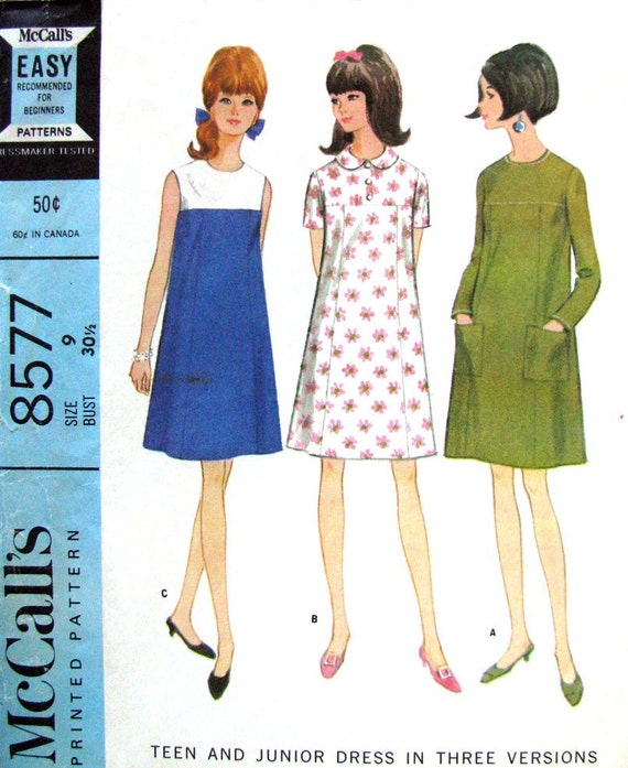 60s Vintage Shift Dress Pattern Mccalls 8577 Yoke Five Panel